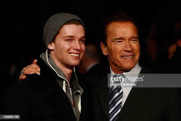 """Actor Arnold Schwarzenegger and Patrick Schwarzenegger attend the European Premiere of """"The Last Stand"""" at Odeon West End on January 22, 2013 in..."""
