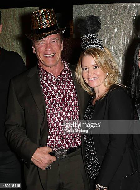Actor Arnold Schwarzenegger and physical therapist Heather Milligan celebrate New Year's Eve at Planet Hollywood Resort Casino on December 31 2014 in...