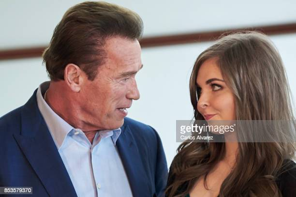 Actor Arnold Schwarzenegger and singer Maisy Kay attend the 'Wonder Of The Sea 3D' photocall at the Kursaal Palace during the 65th San Sebastian...