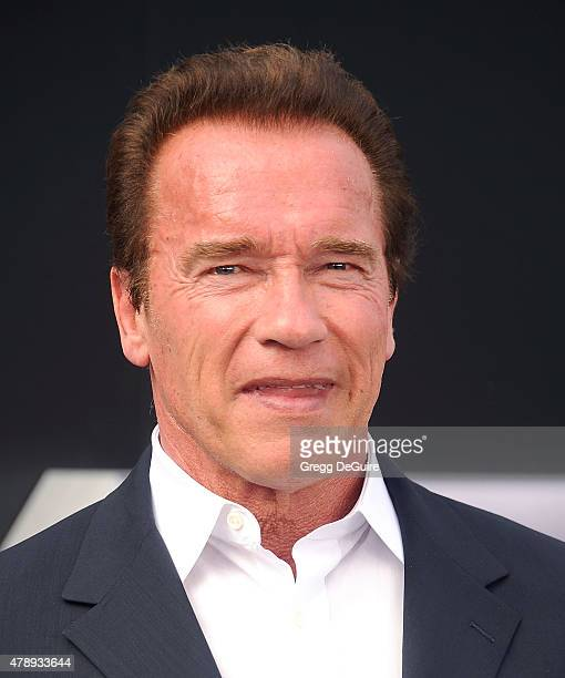 Actor Arnold Schwarzenegger arrives at the Los Angeles premiere of Terminator Genisys at Dolby Theatre on June 28 2015 in Hollywood California