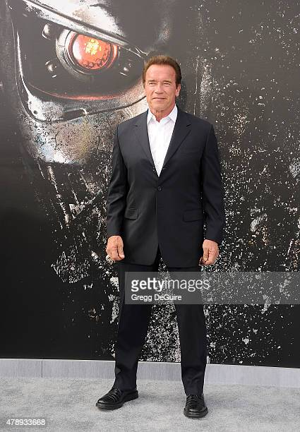 Actor Arnold Schwarzenegger arrives at the Los Angeles premiere of 'Terminator Genisys' at Dolby Theatre on June 28 2015 in Hollywood California