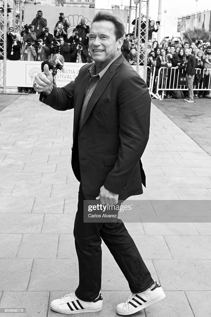 Actor Arnold Schwarzenegger arrives at the Maria Cristina Hotel during at the 65th San Sebastian International Film Festival on September 25, 2017 in San Sebastian, Spain.