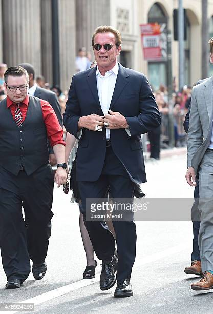 Actor Arnold Schwarzenegger arrives at the premiere of Paramount Pictures' Terminator Genisys at the Dolby Theatre on June 28 2015 in Hollywood...
