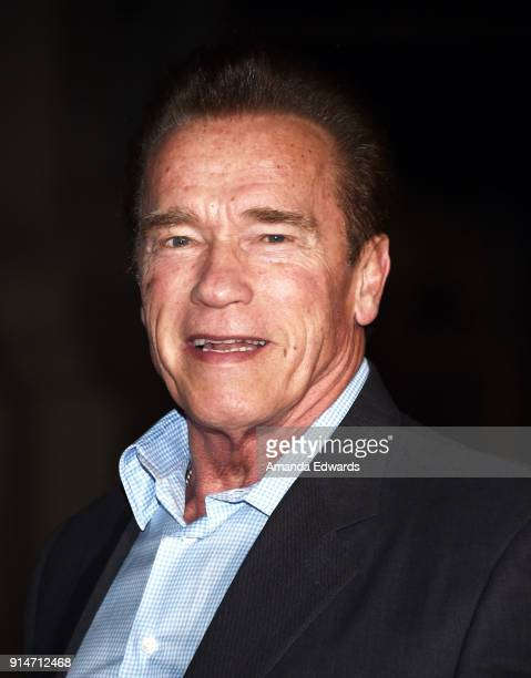 Actor Arnold Schwarzenegger arrives at the premiere of Warner Bros Pictures' 'The 1517 To Paris' at Warner Bros Studios on February 5 2018 in Burbank...