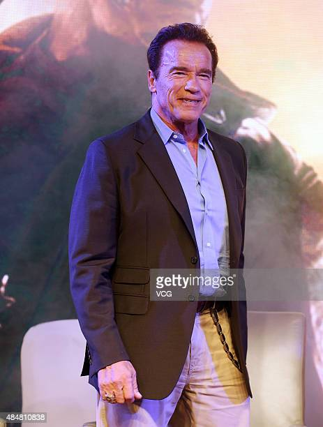 Actor Arnold Schwarzenegger attends a press conference of Alan Taylor's film 'Terminator Genisys' on August 21 2015 in Shanghai China