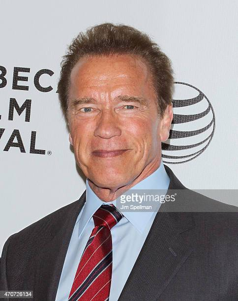 Actor Arnold Schwarzenegger attends the 2015 Tribeca Film Festival world premiere narrative 'Maggie' at BMCC Tribeca PAC on April 22 2015 in New York...