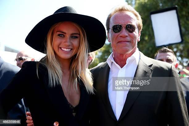 Actor Arnold Schwarzenegger attends the Australian Formula One Grand Prix at Albert Park on March 15 2015 in Melbourne Australia