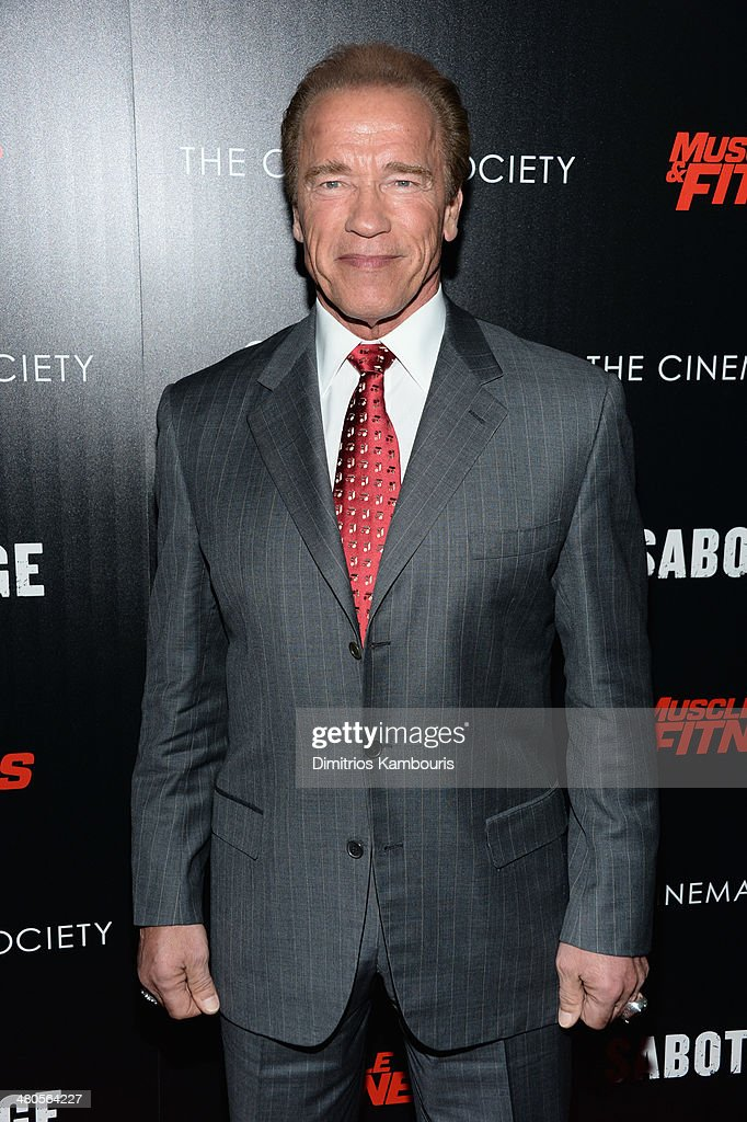Actor Arnold Schwarzenegger attends The Cinema Society with Muscle & Fitness screening of Open Road Films' 'Sabotage' at AMC Loews Lincoln Square on March 25, 2014 in New York City.