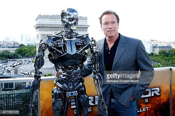 Actor Arnold Schwarzenegger attends the France Photocall of 'Terminator Genisys' at the Publicis Champs Elysees on June 19 2015 in Paris France