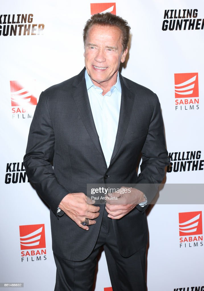 Actor Arnold Schwarzenegger attends the premiere of Saban 'Killing Gunther' at The TCL Chinese Theatre on October 14, 2017 in Hollywood, California.