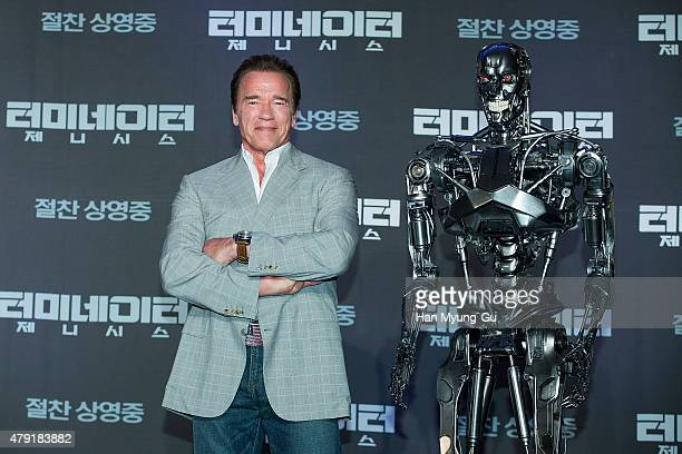Actor Arnold Schwarzenegger attends the press conference for Terminator Genisys on July 2 2015 in Seoul South Korea The film will open on July 02 in...