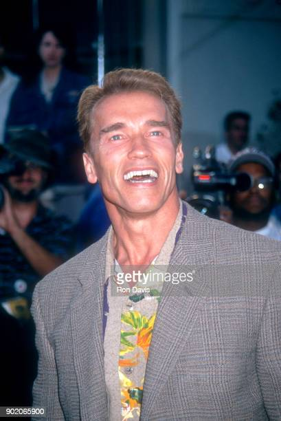 Actor Arnold Schwarzenegger attends the 'True Lies' Westwood premiere on July 12 1994 at Mann Village Theater in Westwood California