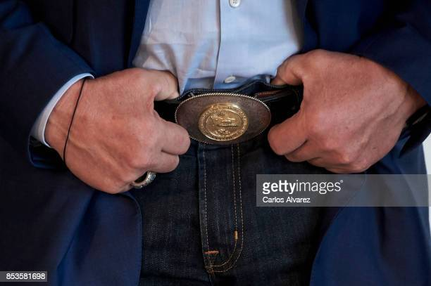 Actor Arnold Schwarzenegger hands detail attends the 'Wonder Of The Sea 3D' photocall at the Kursaal Palace during the 65th San Sebastian...