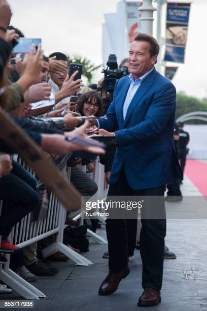 Actor Arnold Schwarzenegger is seen arriving at the 65th San Sebastian International Film Festival on September 25 2017 in San Sebastian Spain The...
