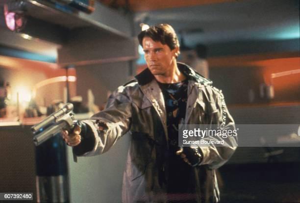 Actor Arnold Schwarzenegger on the set of Terminator