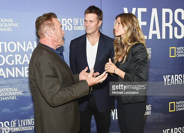 Actor Arnold Schwarzenegger professional Football player Tom Brady and wife model Gisele Bundchen attend National Geographic's 'Years Of Living...