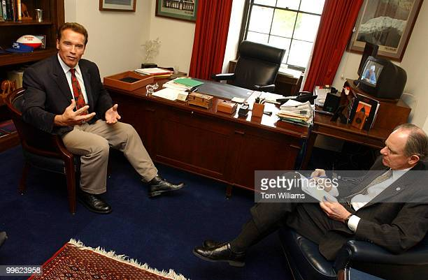Actor Arnold Schwarzenegger right met with Rep Mike Castle RDel to discuss after school programs