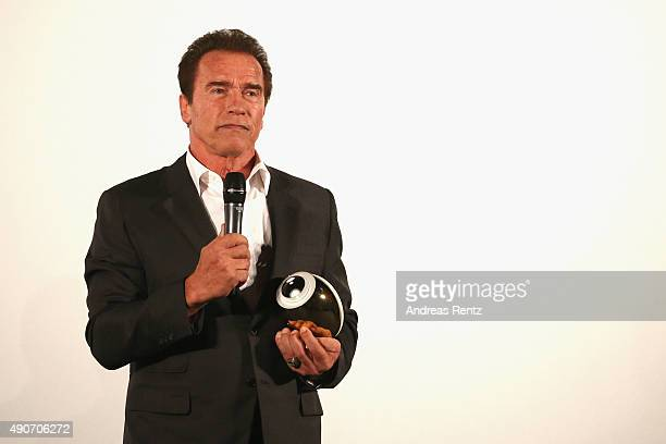 Actor Arnold Schwarzenegger speaks onstage after receiving the Golden Icon Award during the Zurich Film Festival on September 30 2015 in Zurich...