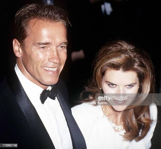 Actor Arnold Schwarzenegger with his wife, Maria Shriver, circa 1992.