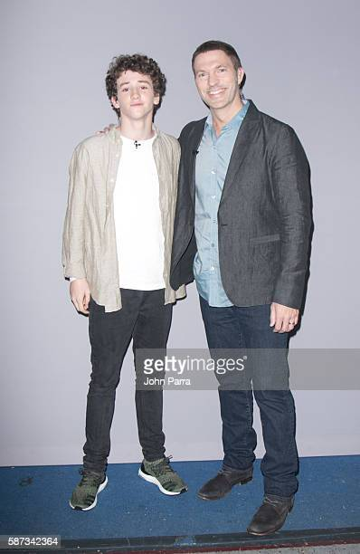 Actor Art Parkinson and Director Travis Knight are seen on the set Of Telemundo's 'Un Nuevo Dia' at Telemundo Studio to promote 'Kubo And The Two...