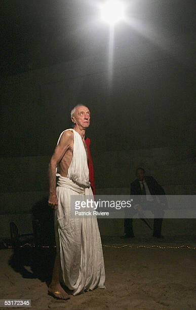 Actor Arthur Dignam performs during a photo call for William Shakespeare's Julius Caesar at the Wharf1 Theatre on June 30, 2005 in Sydney, Australia.