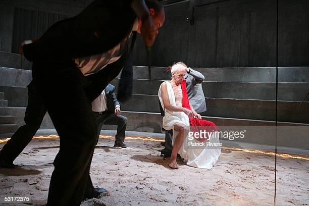 Actor Arthur Dignam performs during a photo call for William Shakespeare's Julius Caesar at the Wharf1 Theatre on June 30 2005 in SydneyAustralia