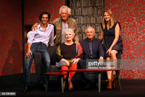 Actor Arthur Fenwick Stage Director JeanLuc Moreau Actors MarieChristine Barrault Alain Doutey and Claudia Dimier pose after have performed in...