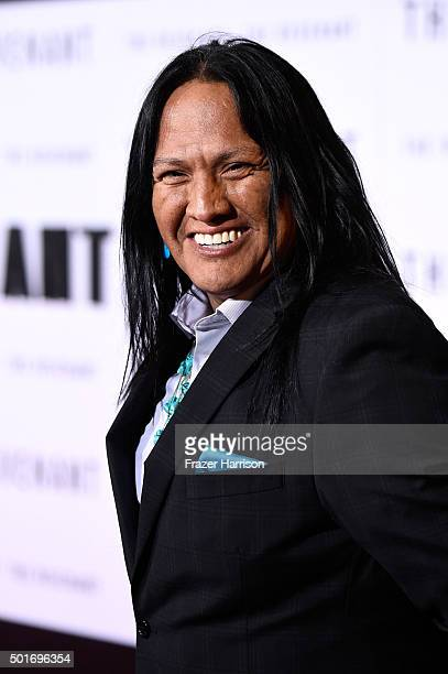 Actor Arthur Redcloud attends the premiere of 20th Century Fox and Regency Enterprises' The Revenant at the TCL Chinese Theatre on December 16 2015...