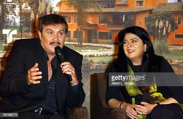Actor Arturo Peniche and Victoria Ruffo participate in the press conference of Telemundo's Spanish soap opera Victoria announcing production in...
