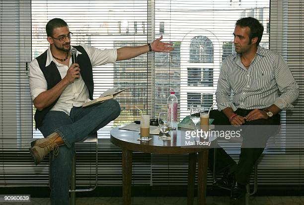 Actor Arunoday Singh with debutant novelist Aatish Taseer at a book reading session in New Delhi on Thursday September 17 2009