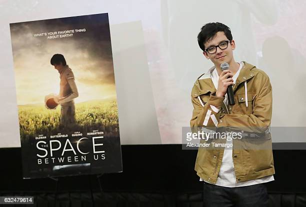 Actor Asa Butterfield is seen at AMC Unset Place during THE SPACE BETWEEN US Screening QA on January 22 2017 in Miami Florida
