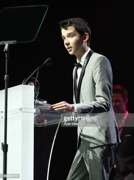 Actor Asa Butterfield recipient of the Rising Star of 2013 award speaks onstage at the CinemaCon 2013 Final Night Awards at Caesars Palace during...
