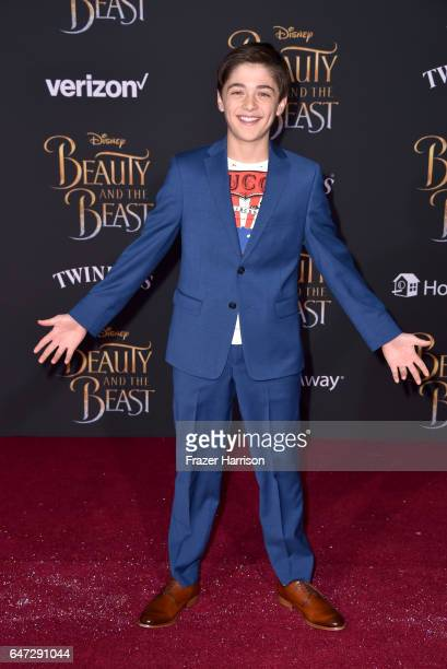 Actor Asher Angel attends Disney's Beauty and the Beast premiere at El Capitan Theatre on March 2 2017 in Los Angeles California