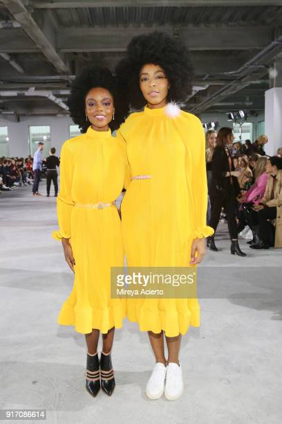 Actor Ashleigh Murray and Jessica Williams attends the Tibi front row during New York Fashion Week The Shows at Pier 17 on February 11 2018 in New...