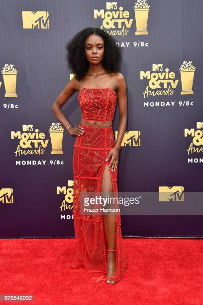 Actor Ashleigh Murray attends the 2018 MTV Movie And TV Awards at Barker Hangar on June 16 2018 in Santa Monica California