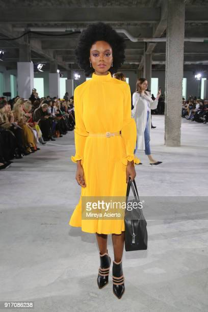 Actor Ashleigh Murray attends the Tibi front row during New York Fashion Week The Shows at Pier 17 on February 11 2018 in New York City
