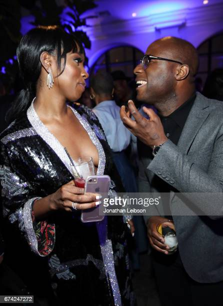 Actor Ashley Blaine Featherson and director Barry Jenkins attend Netflix Dear White People S1 premiere LA screening 2017 on April 27 2017 in Los...