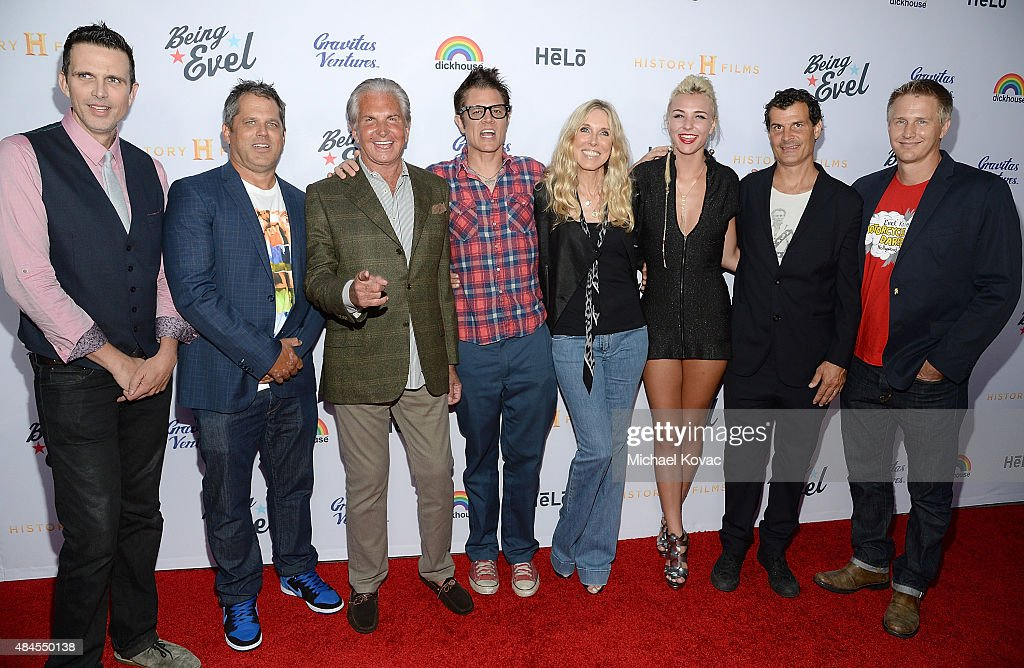 Actor Ashley Hamilton, producer Jeff Tremaine, actor George Hamilton, actor Johnny Knoxville, actress Alana Stewart, Maty Noyes, BMX rider Mat Hoffman, and director Daniel Junge attend the Los Angeles Premiere of 'Being Evel' on August 19, 2015 in Los Angeles, California.