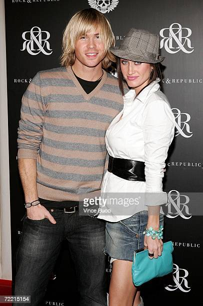 Actor Ashley Parker Angel with fiance model Tiffany Lynn arrives at the Rock Republic Spring Collection Party on October 18 2006 in Hollywood...