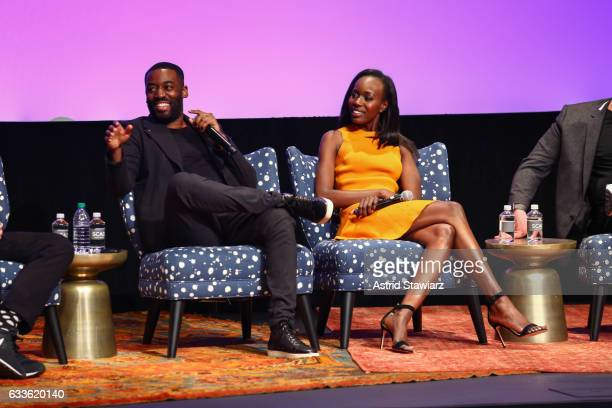"Actor Ashley Thomas and Actress Anna Diop speak at a QA for ""24 Legacy"" during Day One of the aTVfest 2017 presented by SCAD on February 2 2017 in..."