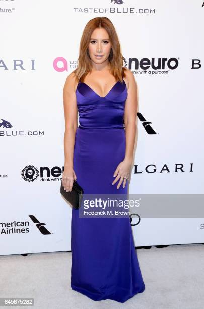 Actor Ashley Tisdale attends the 25th Annual Elton John AIDS Foundation's Academy Awards Viewing Party at The City of West Hollywood Park on February...