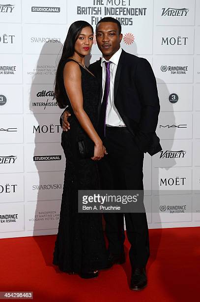 Actor Ashley Walters and his wife Danielle Isaie arrive on the red carpet for the Moet British Independent Film Awards at Old Billingsgate Market on...