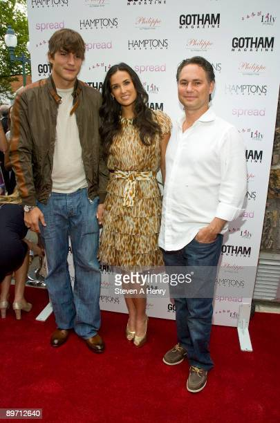 """Actor Ashton Kutcher, actress Demi Moore and Niche Media CEO Jason Binn attend the """"Spread"""" screening at the UA East Hampton 6 on August 8, 2009 in..."""