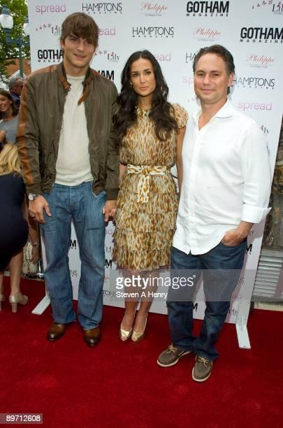 "Actor Ashton Kutcher, actress Demi Moore, Niche Media CEO Jason Binn attend the ""Spread"" screening at the UA East Hampton 6 on August 8, 2009 in East..."