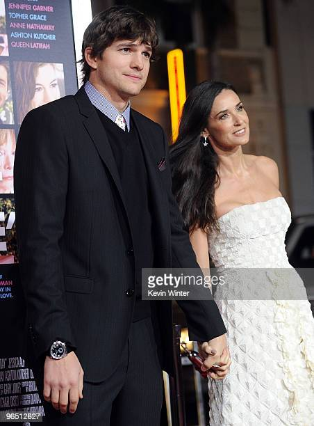 """Actor Ashton Kutcher and actress Demi Moore arrive at the premiere of New Line Cinema's """"Valentine's Day"""" held at Grauman's Chinese Theatre on..."""