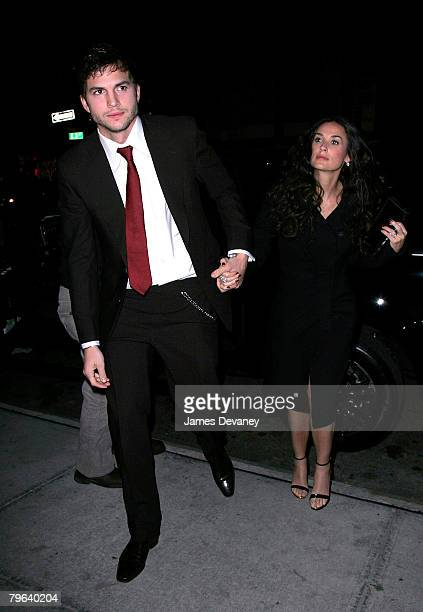 Actor Ashton Kutcher and actress Demi Moore arrive to Gemma restaurant to celebrate Ashton Kutcher's birthday on February 7 2008 in New York City New...
