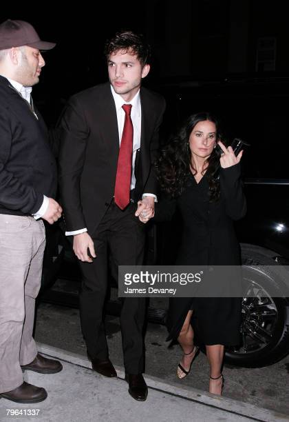 Actor Ashton Kutcher and actress Demi Moore arrive to Gemma restaurant to celebrate Ashton Kutcher's birthday in New York city on February 7 2008