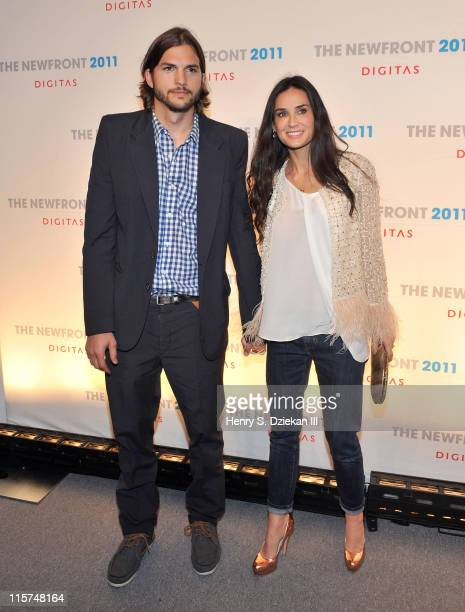 Actor Ashton Kutcher and actress Demi Moore attend the NewFront conference presented by Digitas and The Third Act at Skylight SOHO on June 9 2011 in...