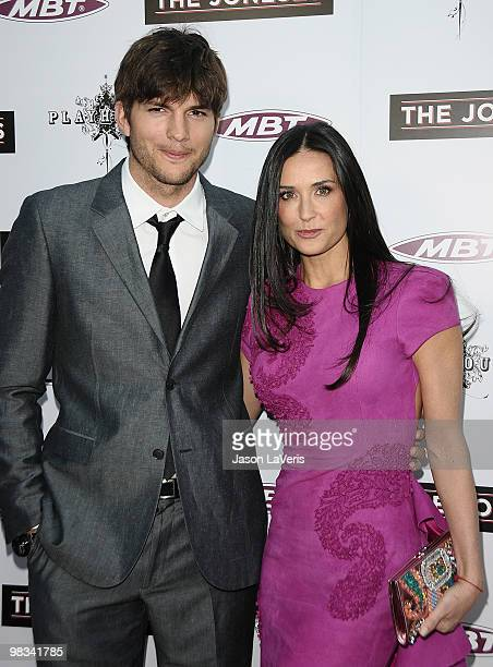 Actor Ashton Kutcher and actress Demi Moore attend the premiere of 'The Joneses' at ArcLight Cinemas on April 8 2010 in Hollywood California