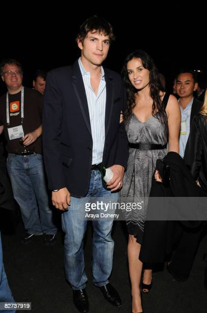 Actor Ashton Kutcher and Actress Demi Moore attend the TechCrunch 50 Conference 2008 VIP dinner party at the San Francisco Design Center on September...